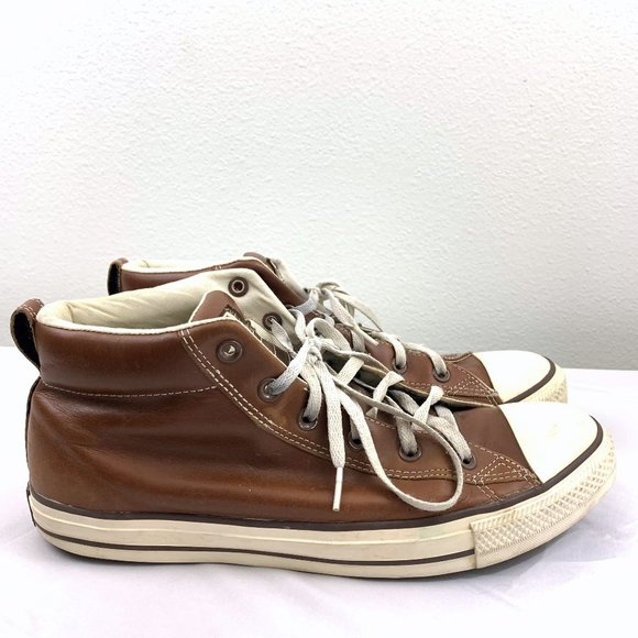Converse Brown Leather Chuck Taylor Mid Sneakers